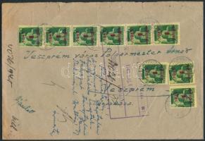 1945 (2.díjszabás) Ajánlott távolsági levél 2. súlykategóriában Kisegítő (I) 9x1P/1P bérmentesítéssel, érkezési bélyegzéssel, irattári feljegyzéssel