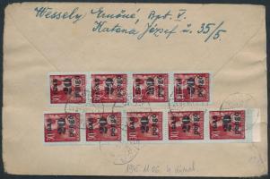 1945 (4.díjszabás) Ajánlott távolsági levél Kisegítő (II) 9x20P/30f bérmentesítéssel, cenzúrázva