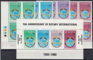 Rotary set corner blocks of 4 + block + 2 FDC, Rotary sor ívsarki négyestömbökben + blokk + 2 FDC
