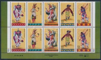 1996 Indián táncok ívszéli 10-es tömb Mi 2730-2734