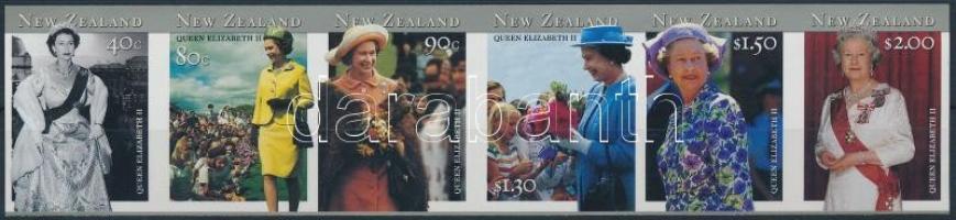 Queen Elizabeth II set in stripe of 6, II. Erzsébet királynő látogatása vágott sor vízszintes 6-os csíkban