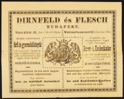 1888 Bp., V. Dirnfeld és Flesch férfi és gyermeköltöny raktár reklámos fejléces számlája