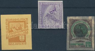 1933-39 Újpest, Őszi vásár, Amatőrök 3 db emlékbélyeg