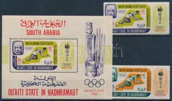 1967 Nyári olimpia sor (fogazott + vágott bélyeg) Mi 106 A + 107 B + fogazott blokk 7 A