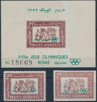 1960 Nyári Olimpia, Róma fogazott és vágott bélyeg Mi 517 A-B + blokk 6