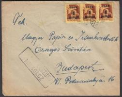 1945 (2.díjszabás) Cezúrás távolsági levél Kisegítő (II) 3x1P/20f bérmentesítéssel, CENZURA MISKOLCZ cenzúra bélyegzéssel