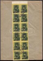 1945 (5.díjszabás) Távolsági levél tévesen a korábbi díjszabás szerint bérmentesítve 12 db 5P/8f Kisegítő (II) bélyeggel