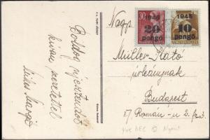 1945 (5.díjszabás) Távolsági képeslap nyomtatványként feladva Kisegítő (II) 10P/80f + 20P/30f bérmentesítéssel