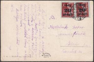1945 (4.díjszabás) Távolsági képeslap Kisegítő (II) 2x20P/30f bérmentesítéssel