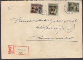 1945 (4.díjszabás) Ajánlott távolsági levél 24 db Kisegítő (II) bélyeggel bérmentesítve / Registered cover franked with 24 stamps