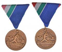 1965. Árvízvédelemért Érem patinázott Br kitüntetés mellszalaggal eredeti tokban (2x) T:1 NMK 663