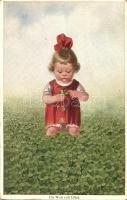 Die Welt voll Glück / child, clover, Primus-Postkarte, Wohlgemuth & Lissner No. 03856. s: Wally Fialkowska (pinholes)
