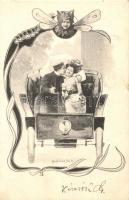 Couple in automobile, Art Nouveau s: Ch. Scolik (EK)