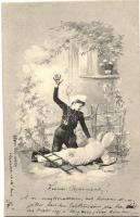 Chimney Sweeper, cook, children, humour, floral s: E. Ernst (EB)