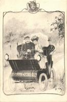 Couple in automobile, Art Nouveau s: Ch. Scolik