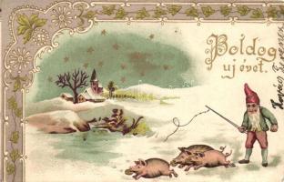 New Year, dwarf, pigs, floral, Art Nouveau Emb. litho
