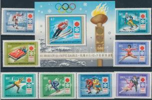 1972 Téli Olimpia, Sapporo sor Mi 667-674 + blokk 26