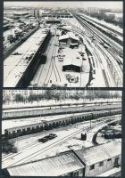 1985 Budapest, Fehér úti járműtelep, Örs vezér tere, 13 db fotó, 10x15 cm