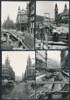 1975-1976 Budapest, Felszabadulás téri aluljáró rendszer építése, 13 db fotó, 9x13 cm
