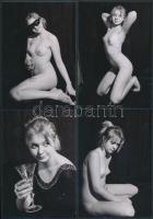 cca 1980 Egy pohár pezsgőért szívesen! 13 db korabeli negatívról készült modern nagyítás, finoman erotikus képek, 9x13 cm / cca 1980 13 erotic photos, 9x13 cm