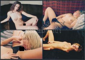 cca 1980 Erotikus fotótétel, 8 db korabeli negatívról készült modern nagyítás,  9x13 cm / cca 1980 8 erotic photos, 9x13 cm