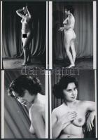 cca 1960 Előadás után a színházban, 8 db korabeli negatívról készült modern nagyítás, finoman erotikus képek, 13x9 cm / cca 1960 8 erotic photos, 13x9 cm
