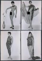 cca 1970 Program hétfőn estére, 8 db korabeli negatívról készült modern nagyítás, finoman erotikus képek, 9x13 cm / cca 1970 8 erotic photos, 9x13 cm