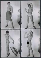 cca 1980 Titkárnő a harmadikról, 8 db korabeli negatívról készült modern nagyítás, finoman erotikus képek, 9x13 cm / cca 1980 8 erotic photos, 9x13 cm