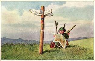 Sommerurlaub im Gebirge, Raphael Tuck & Sons Oilette No. 985. / young hunter s: HSB, Nyári vakáció a hegyekben, Raphael Tuck & Sons Oilette No. 985. s: HSB