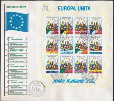 United Europe minisheet on FDC, Egyesült Európa kisív FDC-n