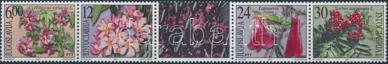 Ornamental trees and shrubs set in coupon stripe of 5, Díszfák és cserjék sor szelvényes 5-ös csíkban