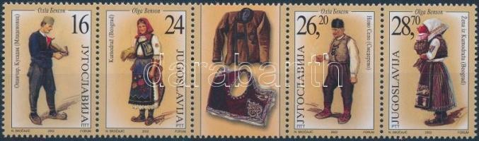 Traditional clothing set in coupon stripe of 5, Népviselet sor szelvényes 5-ös csíkban