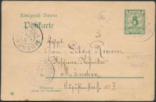 1903 Díjjegyes levelezőlap WALDERBACH - MUNCHEN