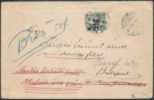 1919 Portós levél Köztársaság / Portó 50f bélyeggel / Postage due Mi 45 on cover