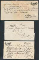 1821-1846 3 db Portós levél / 3 unpaid covers RAAB