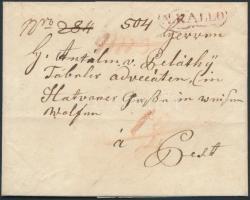 1832 Portós levél / unpaid cover piros / red N.KALLO - Pesth