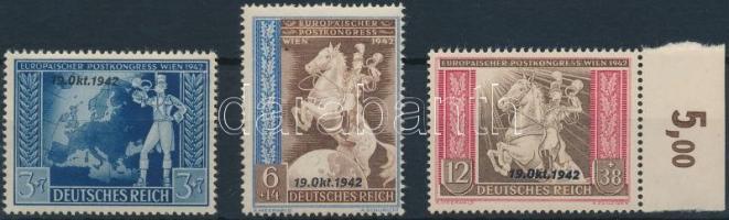 1942 Posta kongresszus felülnyomott sor Mi 823-825