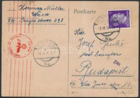 1944 Cenzúrás levelezőlap Bécsből Budapestre