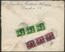 1945 (5.díjszabás) Ajánlott távolsági levél Kisegítő (II-III) 20P/30f + 100P/12f hármascsíkokkal bérmentesítve, cenzúrázva