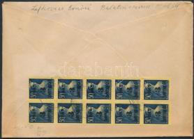 1945 (3.díjszabás) Ajánlott távolsági levél 10 db Kisegítő (II) 3P/50f bélyeggel bérmentesítve, ragjegyen kézírásos helységnév