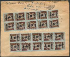 1945 (5.díjszabás) Távolsági levél 20 db Kisegítő (II) 2P/4f bélyeggel és 80P készpénzes bérmentesítéssel