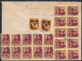 1945 (5.díjszabás) Távolsági levél Kisegítő (I-II) 20x40f/24f + 2x1P/20f bélyeges és 110P készpénzes bérmentesítéssel