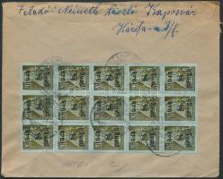 1945 (5.díjszabás) Távolsági levél 15 db Kisegítő (II) 8P/20f bélyeggel bérmentesítve