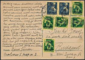 1945 (4.díjszabás) Távolsági levelezőlap Kisegítő (II) 2x3P/50f + 5x7P/1P bérmentesítéssel