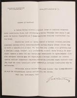 1924 Lábán Antal (1884-1957) a bécsi Collegium Hungaricum igazgatójának levele aláírásával