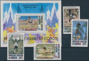 1980 Olimpia sor Mi 786-789 + blokk 26