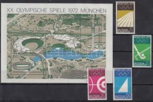 1972 Nyári olimpia sor Mi 719-722 + blokk 7