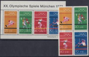 1972 Nyári olimpia négyestömb Mi 734-737 + blokk 8