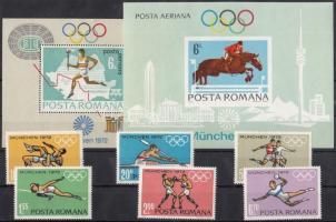 1972 Nyári olimpia sor Mi 3012-3017 + blokkpár 93-94