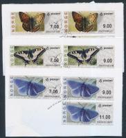 2007 Automata bélyeg, Lepkék sor Mi 7-9 kivágáson elsőnapi bélyegzéssel